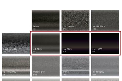 Выбор оттенков черного цвета в палитре цветов TERMA