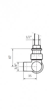 Изображение Вентиль интегрированый термостатический с трубкой угловой №2