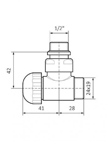 Изображение Вентиль угловой термостатический 1/2 – 24x19 №2